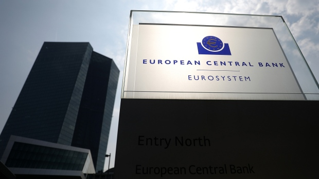 A Eurosystem monetary authority sign stands outside the European Central Bank (ECB) headquarters in Frankfurt, Germany, on Wednesday, April 10, 2019. The ECB's policy update is only one of several important gatherings this week in the realm of global economics.