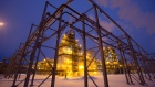Lights illuminate the low-temperature isomerization unit at the Novokuibyshevsk oil refinery plant, operated by Rosneft PJSC, in Novokuibyshevsk, Samara region, Russia, on Wednesday, Dec. 21, 2016. Oil trimmed a second weekly gain as investors weighed rising U.S. inventories against coming coordinated output cuts by OPEC and other producing nations.