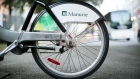 Manulife Financial Corp. signage is displayed on a bicycle in Montreal, Quebec, Canada, on Monday, Aug. 20, 2018.