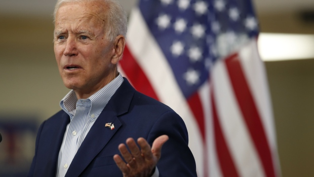 "Former U.S. Vice President Joe Biden, 2020 Democratic presidential candidate, speaks during a campaign event in Davenport, Iowa, U.S., on Tuesday, June 11, 2019. Biden cast President Donald Trump as an ""existential threat"" to the U.S. who has weakened alliances and harmed American workers with needless trade conflicts, delivering a preview of how the former vice president would wage a general election battle."