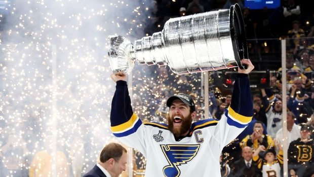 BOSTON, MASSACHUSETTS - JUNE 12: Alex Pietrangelo #27 of the St. Louis Blues celebrates with the Stanley Cup after defeating the Boston Bruins in Game Seven to win the 2019 NHL Stanley Cup Final at TD Garden on June 12, 2019 in Boston, Massachusetts. (Photo by Bruce Bennett/Getty Images)