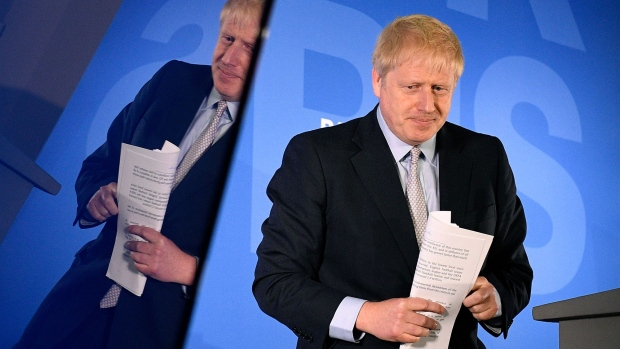 LONDON, ENGLAND - JUNE 12: Boris Johnson launches his Conservative Party leadership campaign at the Academy of Engineering on June 12, 2019 in London, England. (Photo by Leon Neal/Getty Images)