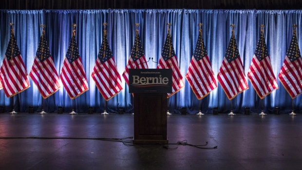 WASHINGTON, DC - JUNE 12: The stage is seen darkened after democratic presidential candidate Sen. Bernie Sanders (I-VT) delivered remarks at a campaign function in the Marvin Center at George Washington University on June 12, 2019 in Washington, DC. Sanders discussed democratic socialism in his address. (Photo by Sarah Silbiger/Getty Images)