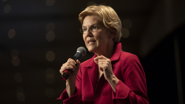 Senator Elizabeth Warren, a Democrat from Massachusetts and 2020 presidential candidate, speaks during an Iowa Democratic Party Hall of Fame event in Cedar Rapids, Iowa, U.S., on Sunday, June 9, 2019. Iowa, the first-in-the nation caucus state, is hosting 19 presidential hopefuls this weekend for its annual Hall of Fame celebration, a fundraiser for the state Democratic Party in Cedar Rapids on Sunday. Photographer: Daniel Acker/Bloomberg
