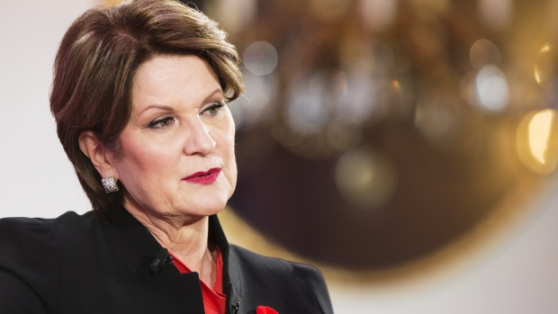 Marillyn Hewson, president and chief executive officer of Lockheed Martin Corp., speaks during Fortune's Most Powerful Women International Summit in Montreal, Quebec, Canada, on Monday, Nov. 5, 2018. The summit addresses the potential of women in advancing global economic growth and how women business leaders can use their power and their platforms for good. Photographer: Christinne Muschi/Bloomberg