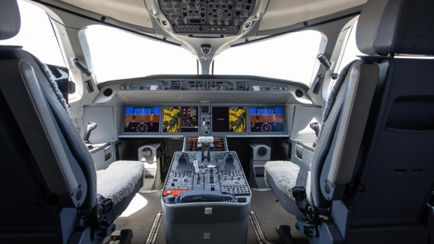 Flight controls sit inside the cockpit of a new Airbus A220 single-aisle aircraft in Toulouse, France, on Tuesday, July 10, 2018.