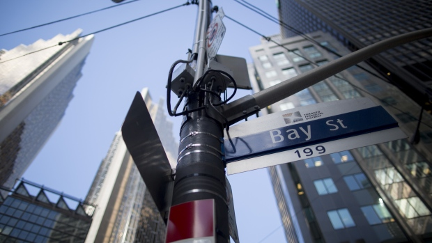A Bay Street sign is displayed in Toronto, Ontario, Canada, on Friday, May 19, 2017.