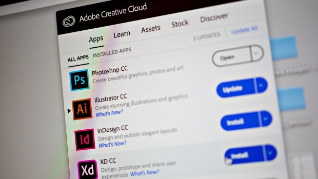 Adobe Systems Inc. Creative Cloud application icons are displayed on a computer monitor in an arranged photograph taken in Tiskilwa, Illinois, U.S., on Friday, June 8, 2018.