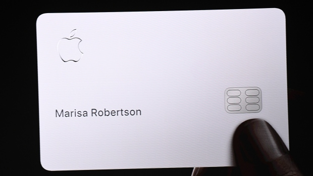 Apple card displayed on screen during an event in Cupertino, California on March 25, 2019. Photographer: David Paul Morris/Bloomberg