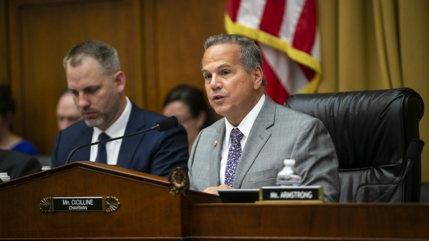 Representative David Cicilline, a Democrat from Rhode Island and chairman of the House Judiciary Subcommittee on Antitrust, Commercial and Administrative Law, speaks during a House Judiciary Subcommittee hearing in Washington, D.C., U.S., on Tuesday, June 11, 2019. Cicilline has said recently that concentration in the digital markets industry has resulted in anti-competitive behavior, breaches of privacy and consumers losing control of their own data. Photographer: Al Drago/Bloomberg