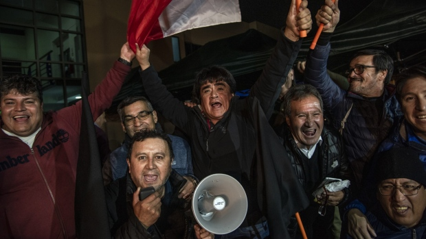 Copper miners celebrate the rejection of the state-run Codelco Chuquicamata mine's final offer for a contract at union headquarters in Calama, Chile on May 29, 2019. Photographer: Cristobal Olivares/Bloomberg