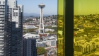 The Seattle Space Needle is seen in the city skyline.