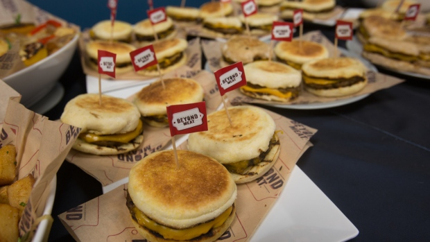 Sandwiches made with Beyond Meat breakfast sausage. Photographer: Tim Rue/Bloomberg