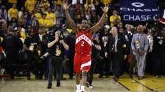 Kawhi Leonard #2 of the Toronto Raptors celebrates his teams win over the Golden State Warriors in Game Six to win the 2019 NBA Finals at ORACLE Arena on June 13, 2019 in Oakland, California.