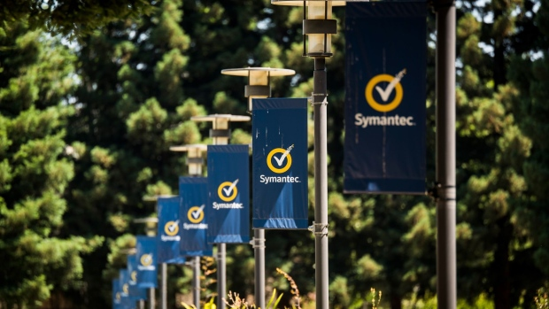 Symantec Corp. banners are displayed at the company's headquarters in Mountain View, California, U.S., on Wednesday, July 3, 2019. Broadcom Inc. is in advanced talks to buy cybersecurity firm Symantec, according to people familiar with the matter, seeking a further expansion into the more profitable software business.