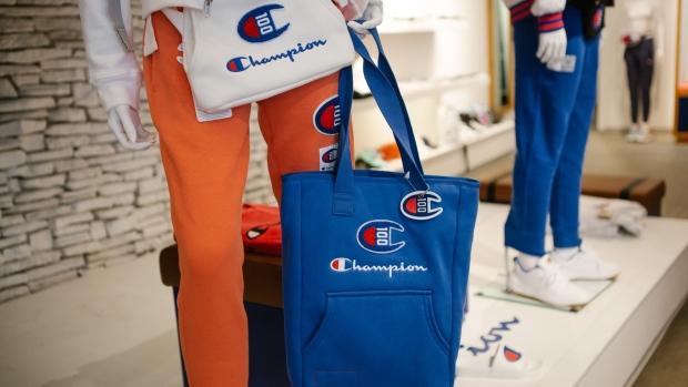 Branded bags are displayed on a mannequin at the Champion store in Philadelphia.
