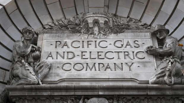 Signage is displayed on the exterior of Pacific Gas and Electric Corp. (PG&E) headquarters in San Francisco, California.