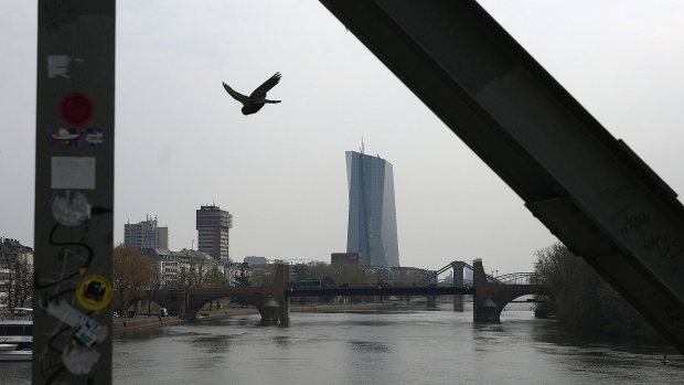 The European Central Bank (ECB) headquarters stand beside the River Main in Frankfurt, Germany, on Wednesday, April 10, 2019. The ECB's policy update is only one of several important gatherings this week in the realm of global economics.