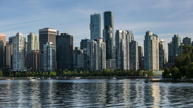 VANCOUVER, CANADA - JUNE 30: The city skyline and Coal Harbour is viewed in this late afternoon photo taken from Stanley Park on June 30, 2016, in Vancouver, British Columbia