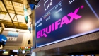 A monitor displays Equifax Inc. signage on the floor of the New York Stock Exchange (NYSE) in New York, U.S., on Friday, Sept. 8, 2017. The dollar fell to the weakest in more than two years, while stocks were mixed as natural disasters damped expectations for another U.S. rate increase this year.