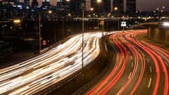 Light trails left by moving traffic run along a highway at dusk in Seoul, South Korea, on Sunday, Jan. 20, 2019. South Korea is scheduled to release fourth-quarter gross domestic product (GDP) figures on Jan. 22.