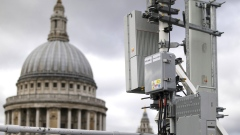 An array of 5G masts including Huawei equipment in central London.