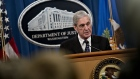 Robert Mueller speaks at the DOJ on May 29.