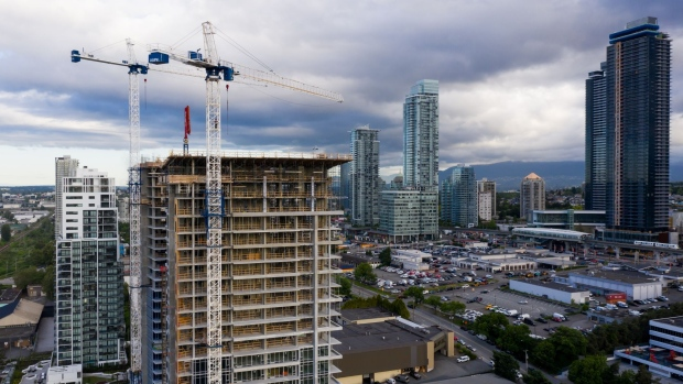 Residential buildings stand under construction in this aerial photograph taken above Burnaby, British Columbia, Canada, on Monday, June 3, 2019. The Canada Mortgage and Housing Corp. is scheduled to release housing starts figures on June 10.
