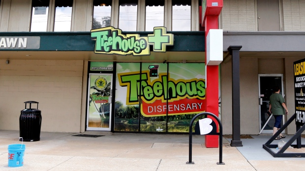 This July 22, 2019 file photo shows Treehouse Dispensary's storefront location in Tulsa, Okla.