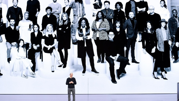 Tim Cook announcing the launch of Apple's own credit card in March.