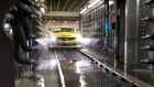 A newly built Chevrolet Camaro enters the water test bay on the assembly line at at General Motors of Canada's Oshawa Car Assembly plant in Oshawa, Ontario, Canada.