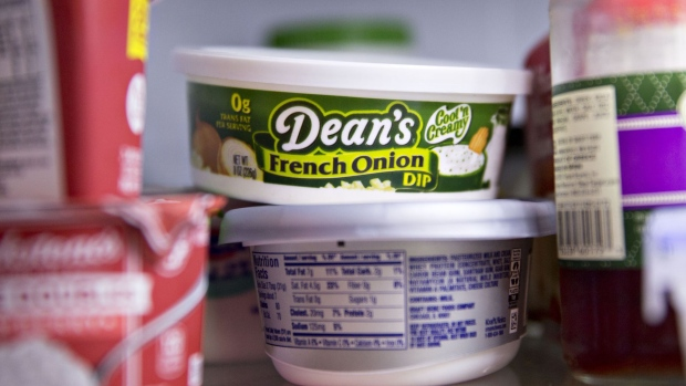A container of Dean Foods Co. Dean's brand french onion dip is displayed for a photograph in Tiskilwa, Illinois, U.S., on Thursday, Aug. 3, 2017. Dean Foods Co. is scheduled to release earnings figures on August 8.