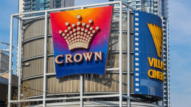 The Crown Resorts Ltd. logo is displayed at the Crown Melbourne casino and entertainment complex in Melbourne, Australia, on Wednesday, Aug. 2, 2017. Billionaire James Packer's Crown Resorts is scheduled to report full-year results on Aug. 4.