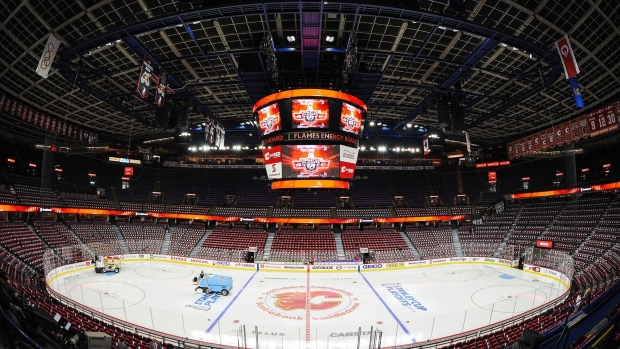 An interior view of the Scotiabank Saddledome prior to Game Five of the Western Conference First Round between the Calgary Flames and the Colorado Avalanche during the 2019 NHL Stanley Cup Playoffs on April 19, 2019 in Calgary, Alberta, Canada.