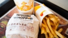 An 'Impossible Whopper' sits on a table at a Burger King restaurant.