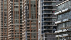 A row of condo towers is seen in downtown Toronto, Canada on  May 10, 2018.