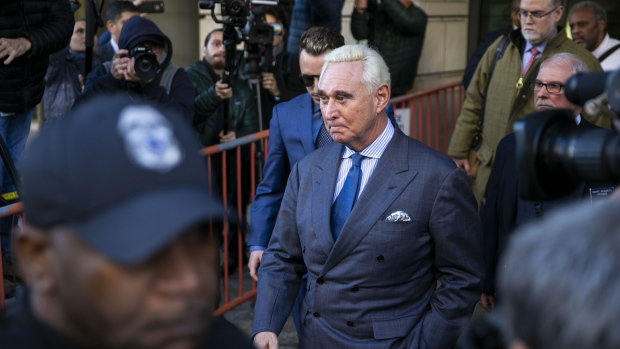 Roger Stone exits federal court in Washington, D.C. on Feb. 21, 2019.