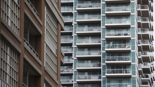 A condominium stands in Toronto, Ontario, Canada, on Thursday, May 11, 2017. Toronto home prices climbed 5 percent in April, suggesting the Ontario government's foreign buyer tax and troubles at Home Capital Group Inc. haven't yet cooled the market.