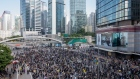 Demonstrators gather during a protest in the Admiralty district of Hong Kong. Photographer: Paul Yeung/Bloomberg