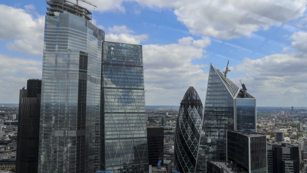 Skyscrapers stand in the City of London's square mile financial district in this view from the Sky Garden roof top viewing platform at the top of 20 Fenchurch Street in London, U.K., on Wednesday, July 3, 2019. There are fears that the U.K.'s pending divorce from the European Union, Brexit, will cause a precipitous decline of London as the undisputed financial capital of Europe.