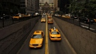 Taxis drive on Park Avenue in New York.