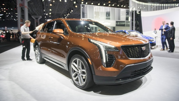 The General Motors Co. Cadillac XT4 vehicle is displayed during the 2018 New York International Auto