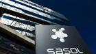 A logo sits on display outside the Sasol Ltd. headquarters in Johannesburg.