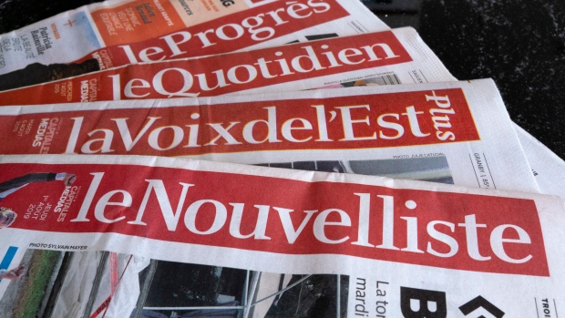 Quebec government helps newspaper chain that filed for