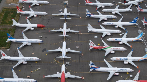 SEATTLE, WA - JUNE 27: Boeing 737 MAX airplanes are stored in an area adjacent to Boeing Field, on June 27, 2019 in Seattle, Washington. After a pair of crashes, the 737 MAX has been grounded by the FAA and other aviation agencies since March, 13, 2019. The FAA has reportedly found a new potential flaw in the Boeing 737 Max software update that was designed to improve safety. (Photo by Stephen Brashear/Getty Images)