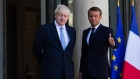 Boris Johnson, U.K. prime minister, left, and Emmanuel Macron, France's president, pose for photographer after delivering statements in the courtyard of Elysee Palace in Paris, France, on Thursday, Aug. 22, 2019. Macron gave Johnson little hope he's prepared to compromise on Brexit and said any changes to the current deal won't be very significant. Photographer: Jeanne Frank/Bloomberg