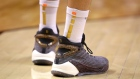 TORONTO, ONTARIO - JUNE 10: A detail view of the Anta KT4 Pro Game 6S worn by Klay Thompson #11 of the Golden State Warriors in the second quarter against the Toronto Raptors during Game Five of the 2019 NBA Finals at Scotiabank Arena on June 10, 2019 in Toronto, Canada. NOTE TO USER: User expressly acknowledges and agrees that, by downloading and or using this photograph, User is consenting to the terms and conditions of the Getty Images License Agreement. (Photo by Gregory Shamus/Getty Images)