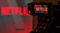 A television camera focuses on the Netflix Inc. company logo in this arranged photograph in London, U.K., on Tuesday, June 26, 2018.