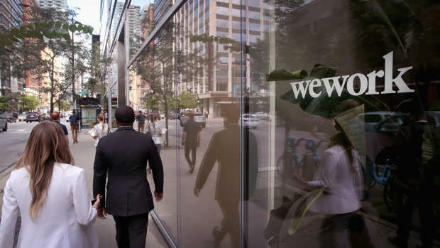 A sign marks the location of a WeWork office facility on August 14, 2019 in Chicago, Illinois.