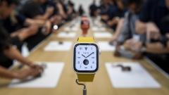 The Apple Inc. Apple Watch 5 is displayed after an event in Cupertino, California, Sept. 10, 2019.